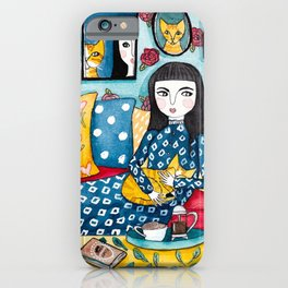 A Girl With Her Ginger Cats iPhone Case