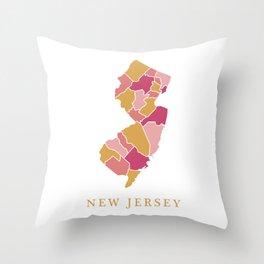 New Jersey map Throw Pillow