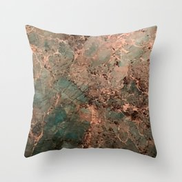 Marble Emerald Copper Blue Green Throw Pillow