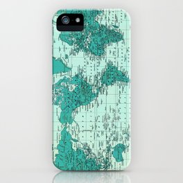 World Map in Teal iPhone Case
