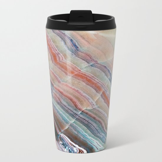 Pastel Onyx Marble Metal Travel Mug
