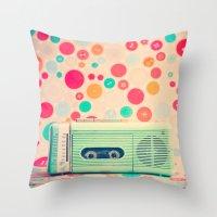 radio Throw Pillows featuring Radio Dots  by Caroline Mint
