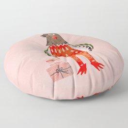 Christmas Chicken - illustration Floor Pillow