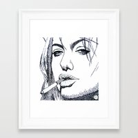 angelina jolie Framed Art Prints featuring Angelina Jolie by The Curly Whirl Girly.