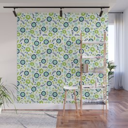 Green and blue flowers on white Wall Mural