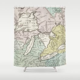 Vintage Map of Great Lakes & Canada (1761) Shower Curtain