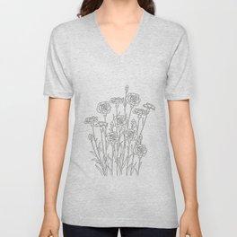 Carnations - Minimal Floral Line Art Unisex V-Neck