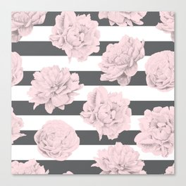 Rose Garden Stripes Pink Flamingo on Storm Gray and White Canvas Print