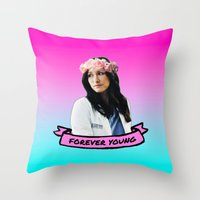 forever young Throw Pillows featuring Forever Young by drmedusagrey