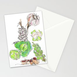 Fresh II: a watercolor of the bounty at Quebec City's farmers' market Stationery Cards