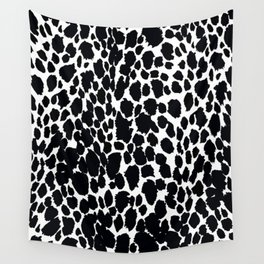 Animal Print Cheetah Black and White Pattern #4 Wall Tapestry