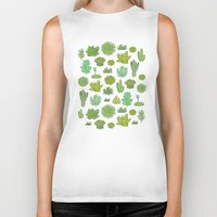succulents Biker Tanks featuring Succulents by Anna Alekseeva kostolom3000