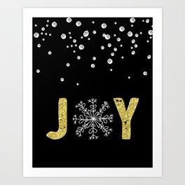 JOY w/White Snowflakes Art Print