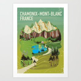 Chamonix-Mont-Blanc,France travel poster. Art Print