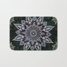 Rising Soul Mandala Design White Blue Green Bath Mat