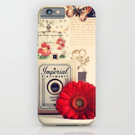 Retro Camera and Red Flower (Retro and Vintage Still Life Photography) iPhone Case