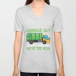 Garbage Day Truck Waste Disposal Dumpster Unisex V-Neck