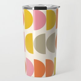 Cute Geometric Shapes Pattern in Pink Orange and Yellow Travel Mug