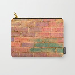 orange distressed painted brick wall ambient decor rustic brick effect Carry-All Pouch
