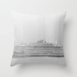 Staten Island Ferry in the fog Throw Pillow
