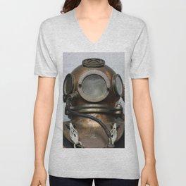 Antique vintage metal underwater deep sea diving helmet Unisex V-Neck