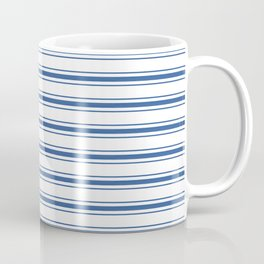Mattress Ticking Wide Horizontal Stripe in Dark Blue and White Coffee Mug