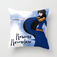 ravenclaw Throw Pillows featuring Rowena Ravenclaw by Hailey Del Rio