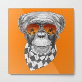 Hand drawn portrait of Monkey. Metal Print