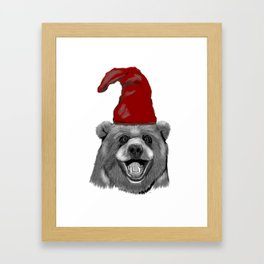 Happy Christmas Bear Framed Art Print