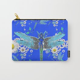 BLUE DRAGONFLIES WHITE DAISY FLOWERS  ART Carry-All Pouch