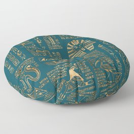 Egyptian hieroglyphs and deities - Gold on teal Floor Pillow