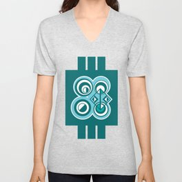 Striped Blue White and Teal Falling Eccentric Circles Abstract Art Unisex V-Neck