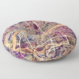 Quad Cities Street Map Floor Pillow