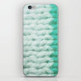White Turquoise Wool Knitting Texture iPhone Skin