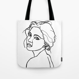 Woman's face line drawing - Adena Tote Bag