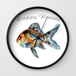 Happy Norooz Shubunkin Goldfish Persian New Year Wall Clock