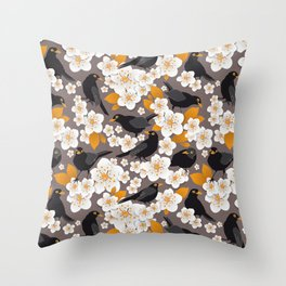 Waiting for the cherries II // Blackbirds brown background Throw Pillow