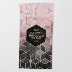 She Believed She Could - Grey Pink Beach Towel