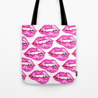 lip Tote Bags featuring Lip Service by Talula Christian