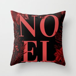 Noel Christmas Floral Throw Pillow