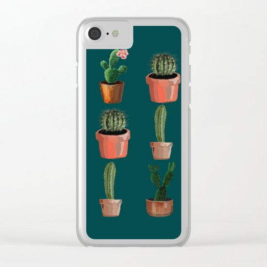 Various Cacti Green Clear iPhone Case