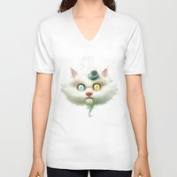 lady V-neck T-shirts featuring Release the Odd Kitty!!! by Dr. Lukas Brezak