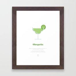 Margarita Cocktail Recipe Art Print (White) Framed Art Print