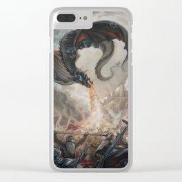Black Battle Dragon Clear iPhone Case