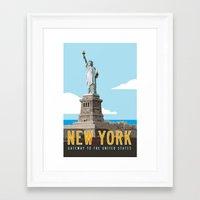 travel poster Framed Art Prints featuring New York Travel Poster by Michael Jon Watt