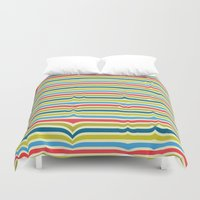 arya Duvet Covers featuring Disturbed Stripes by Hinal Arya