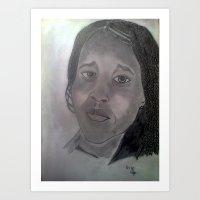 BEAUTIFUL BRAIDED YOUNG AFRICAN GIRL ART Art Print