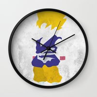 goku Wall Clocks featuring Goku SSJ by JHTY