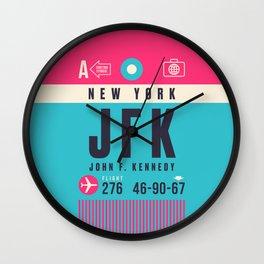 Baggage Tag A - JFK New York John F. Kennedy USA Wall Clock