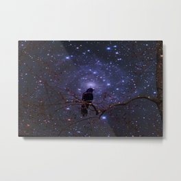 Black crow in moonlight Metal Print